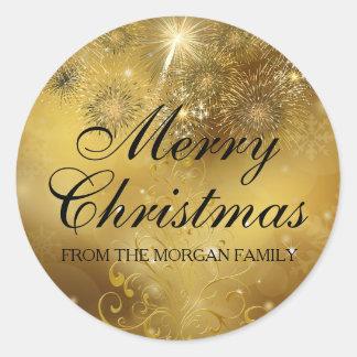 Gold Celebration Sparkle Christmas Holiday Sticker