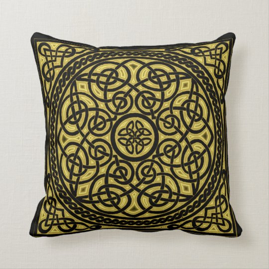 gold celtic design throw pillow