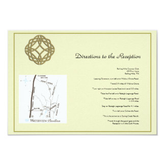 Gold Celtic Eternity Knot Wedding Directions Card