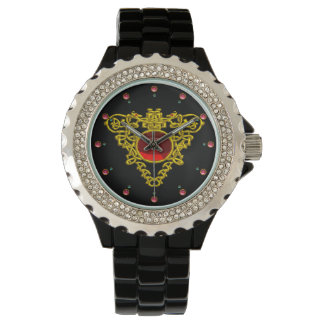 GOLD CELTIC HEART WITH  RED RUBY,Black Watch