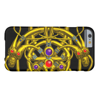 GOLD CELTIC KNOTS,TWIN DRAGONS AND GEMSTONES Black Barely There iPhone 6 Case