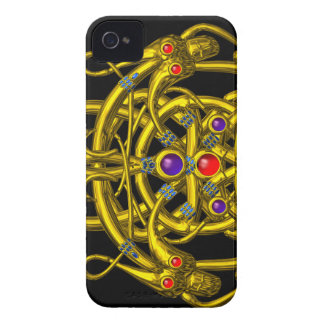 GOLD CELTIC KNOTS WITH TWIN DRAGONS iPhone 4 COVER