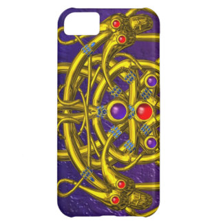 GOLD CELTIC KNOTS WITH TWIN DRAGONS iPhone 5C COVERS