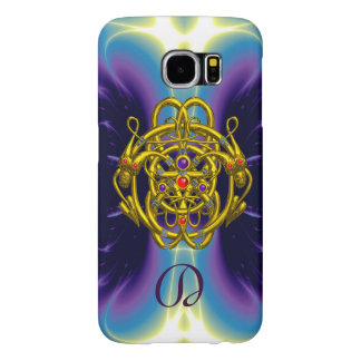 GOLD CELTIC KNOTS WITH TWIN DRAGONS MONOGRAM SAMSUNG GALAXY S6 CASES