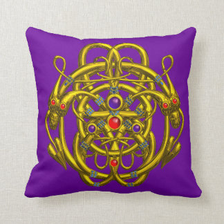 GOLD CELTIC KNOTS WITH TWIN DRAGONS PILLOWS