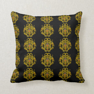 GOLD CELTIC KNOTS WITH TWIN DRAGONS THROW PILLOW