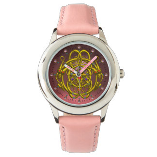 GOLD CELTIC KNOTS WITH TWIN DRAGONS WATCH