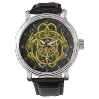 GOLD CELTIC KNOTS WITH TWIN DRAGONS WRISTWATCH