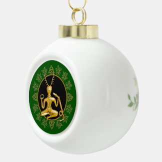 Gold Cernunnos, Holly, & Triquatra-Ball Keepsake 6 Ceramic Ball Christmas Ornament