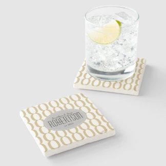 Gold Chain Pattern Newlywed Personalized Stone Coaster