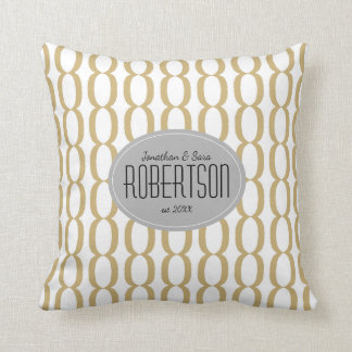 Gold Chain Pattern Newlywed Personalized Throw Pillow
