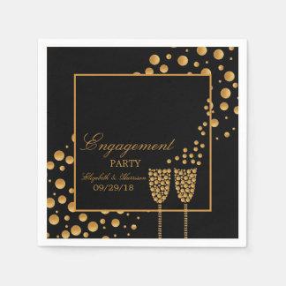 Gold Champagne Bubbles Engagement Party Disposable Napkins