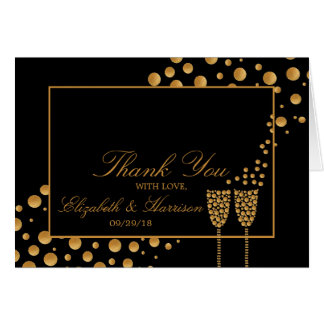 Gold Champagne Bubbles Engagement Party Thank You Card