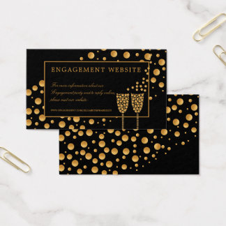 Gold Champagne Bubbles Engagement Party Website Business Card