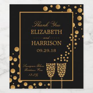 Gold Champagne Bubbles Engagement Party Wine Label