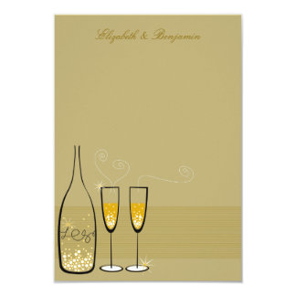 """Gold Champagne Bubbles Wedding Chic Thank You Card 3.5"""" X 5"""" Invitation Card"""