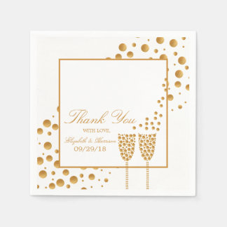 Gold Champagne Bubbles Wedding Disposable Napkins