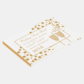 Gold Champagne Bubbles Wedding Guest Book