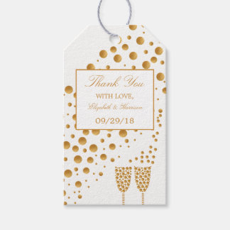 Gold Champagne Bubbles Wedding Pack Of Gift Tags