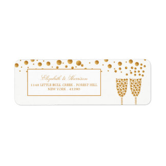 Gold Champagne Bubbles Wedding Return Address Label