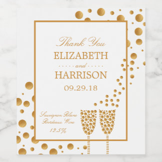 Gold Champagne Bubbles Wedding Wine Label