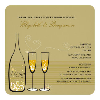 Gold Champagne Bubbly Classy Wedding Shower Invite