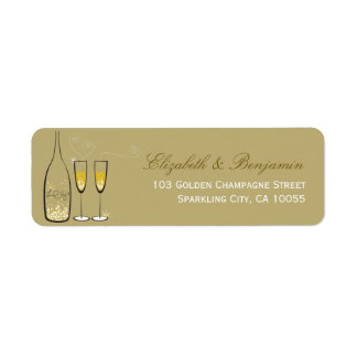 Gold Champagne Bubbly Wedding Chic Address Labels