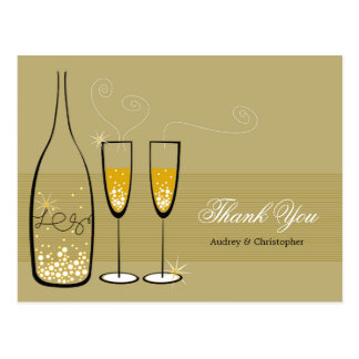 Gold Champagne Bubbly Wedding Thank You Postcard
