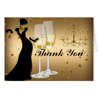 Gold Champagne & Chandelier Thank You Card