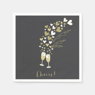 Gold Champagne Cheers Engagement Wedding Party Disposable Napkin