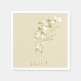 Gold Champagne Cheers Engagement Wedding Party Disposable Napkins