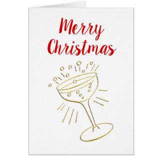 Gold Champagne Glass Merry Christmas Xmas Card