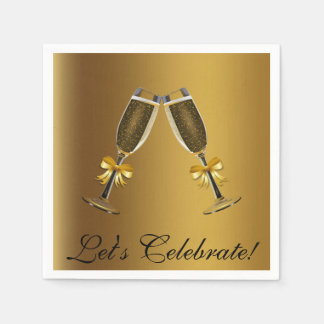 Gold Champagne Glasses Celebration Paper Napkins