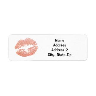 Gold Champagne Lipstick Kiss Return Address Label