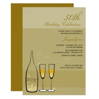 Gold Champagne Milestone Birthday Party Invite