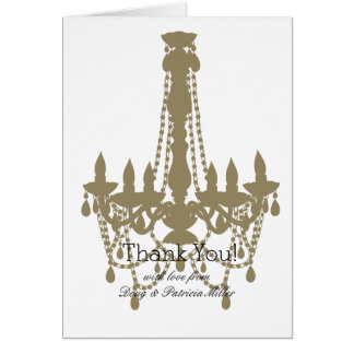 Gold Chandelier Thank You Card