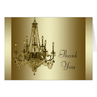 Gold Chandelier Thank You Cards