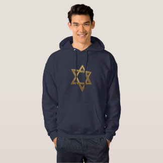 gold chanukkah star of david mens hoody sweatshirt