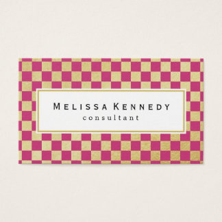 Gold Checkered Pattern Business Cards Hot Pink