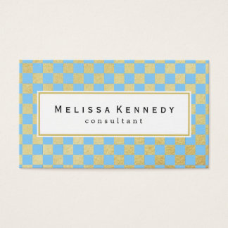 Gold Checkered Pattern Business Cards Light Blue