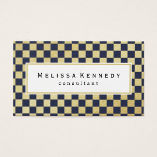 Gold Checkered Pattern Business Cards Navy Blue