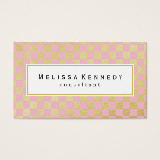 Gold Checkered Pattern Business Cards Pink