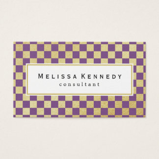 Gold Checkered Pattern Business Cards Purple