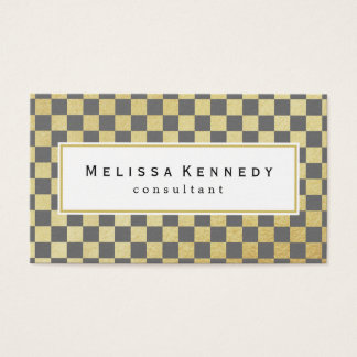 Gold Checkered Pattern Business Cards Slate Gray