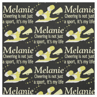 GOLD CHEERLEADING LIFE PERSONALIZED FABRIC
