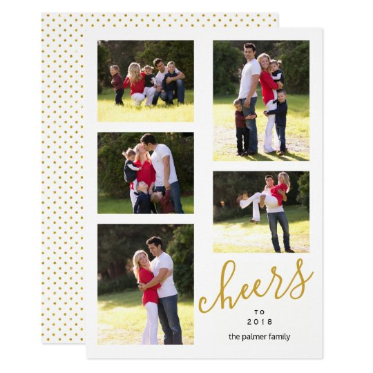 Gold cheers to the New Year 2018 photo collage Card