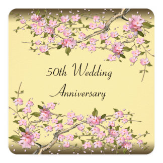 Gold Cherry Blossom 50th Anniversary Party Card