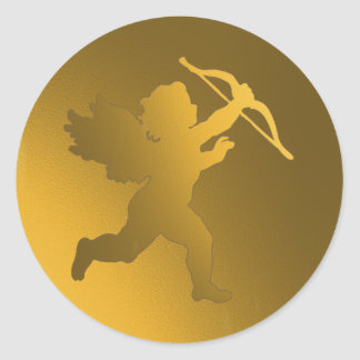 gold cherub classic round sticker