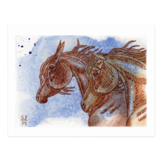 Gold & Chestnut Horses On Lapis Lazuli Watercolor Postcard