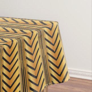 Gold Chevron Arrow Lines Boho Tribal Style Tablecloth